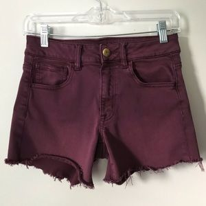American Eagle Outfitters Hi Rise Shortie Burgandy